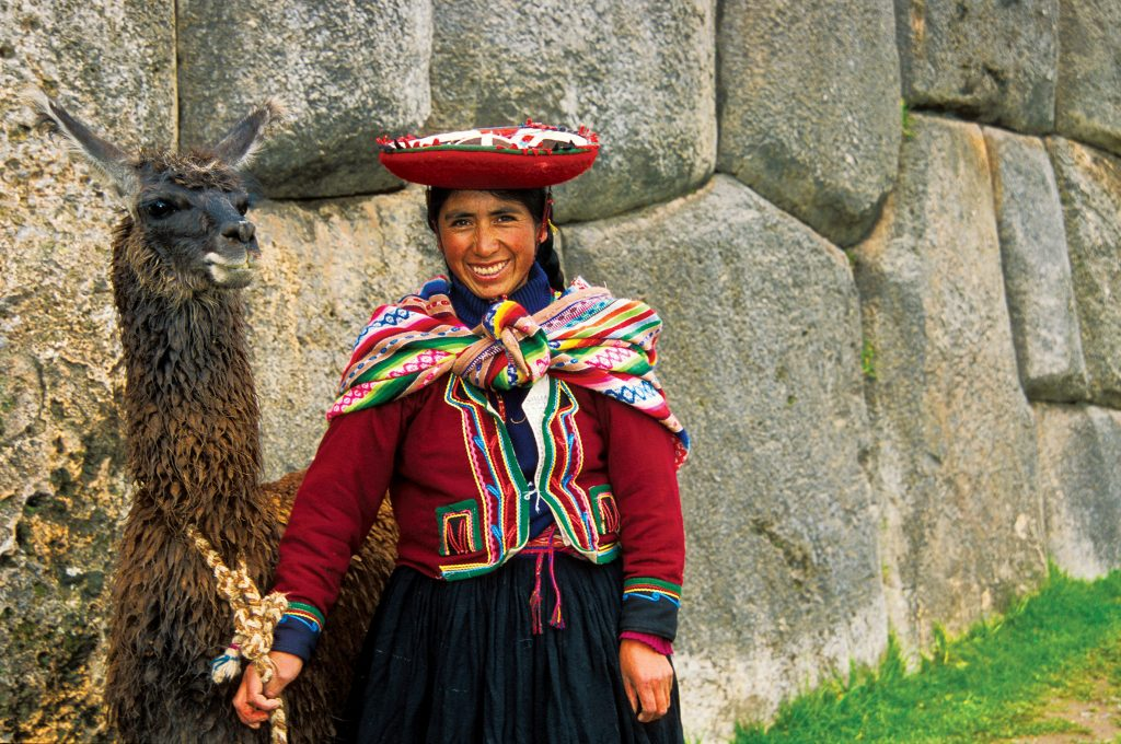 Peruvian woman with her llama